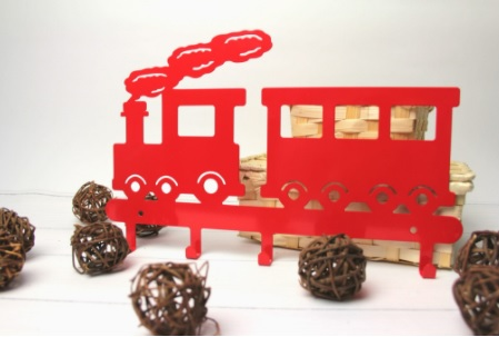 Cabideiro  infantil trenzinho vermelho aço