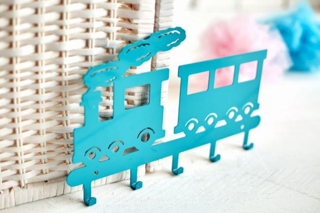 Cabideiro  infantil trenzinho azul aço