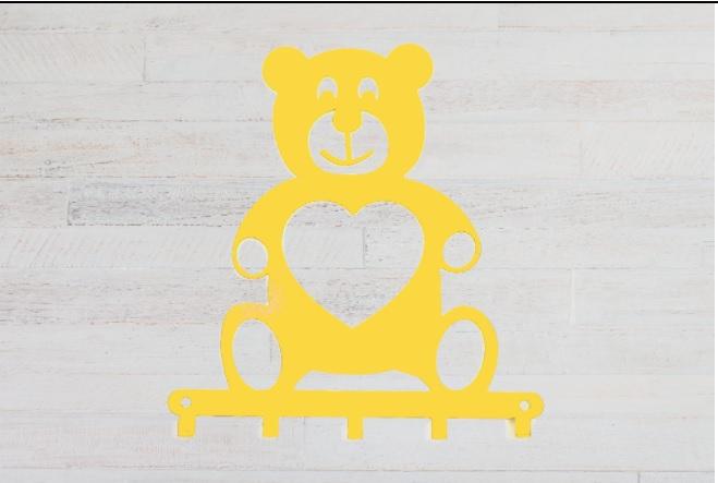 Cabideiro Infantil ursinho amarelo aço