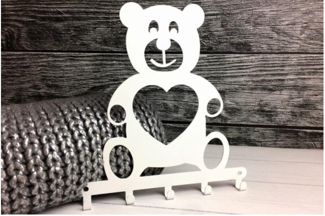 Cabideiro Infantil ursinho branco aço