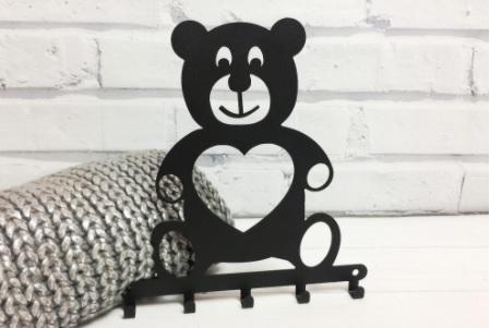Cabideiro Infantil ursinho preto aço