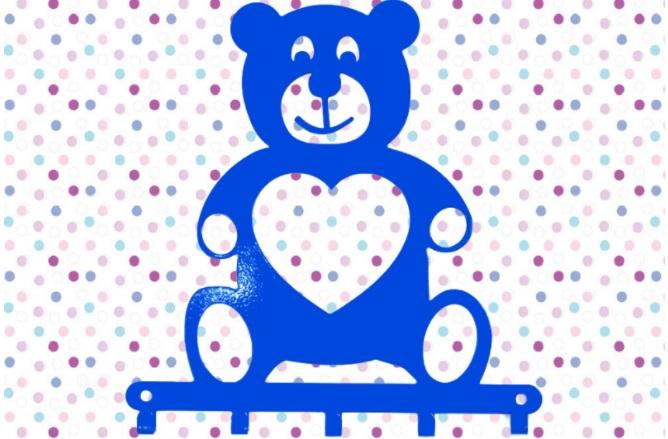 Cabideiro Infantil ursinho azul aço