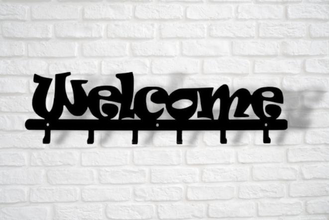 Placa de Entrada Bem-vindo Hall Aço Inox PREMIUM