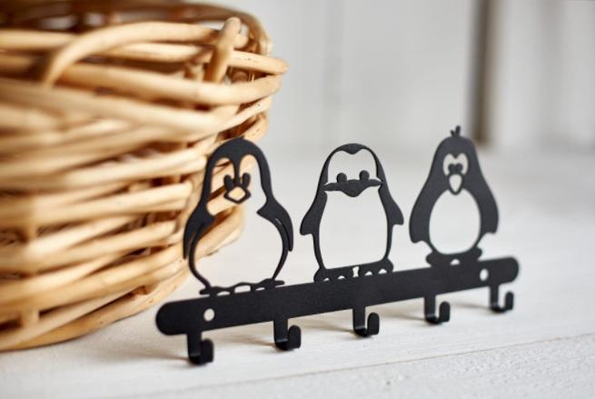 Porta Chaves Parede 03 pinguins Aço Inox