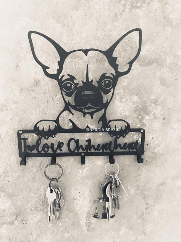 Porta Chaves de parede Chihuahua Aço