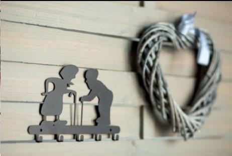 Suporte para chaves de parede Felizes para sempre Aço