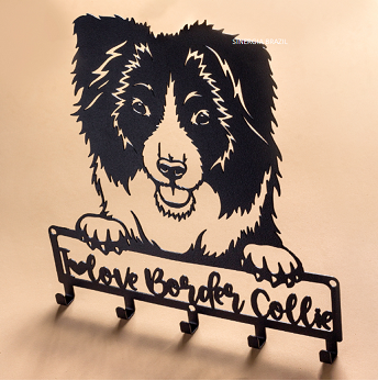 Porta-Coleira para Border Collie, Suporte Organizador Coleira de Cachorro Aço