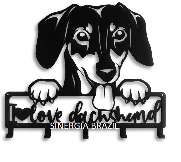 Porta Coleira de Aço para cachorro Dachshund ,  Suporte Organizador Coleira de Cachorro