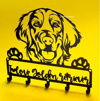 Porta Coleira para Golden Retriever,  Suporte Organizador Coleira de Cachorro Aço