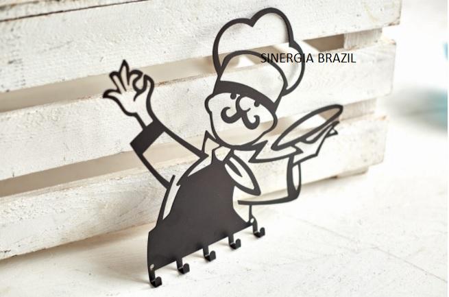 Porta-pano de prato do chef  preto aço