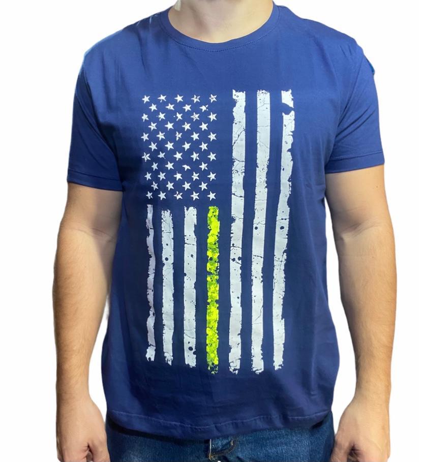 Camiseta Country Azul Bandeira EUA Love Horse Original