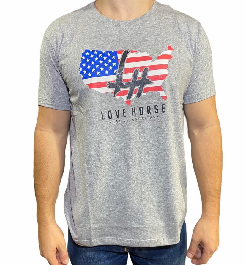 Camiseta Country Cinza Love Horse EUA Original