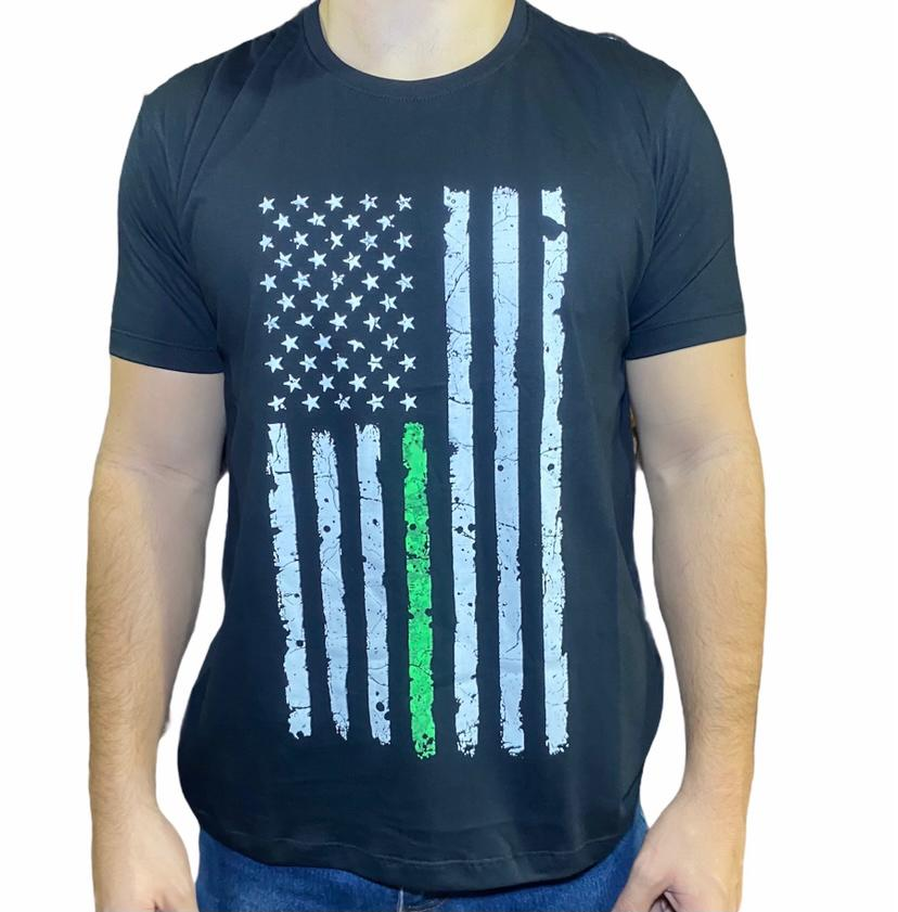Camiseta Country Preta Bandeira EUA Love Horse