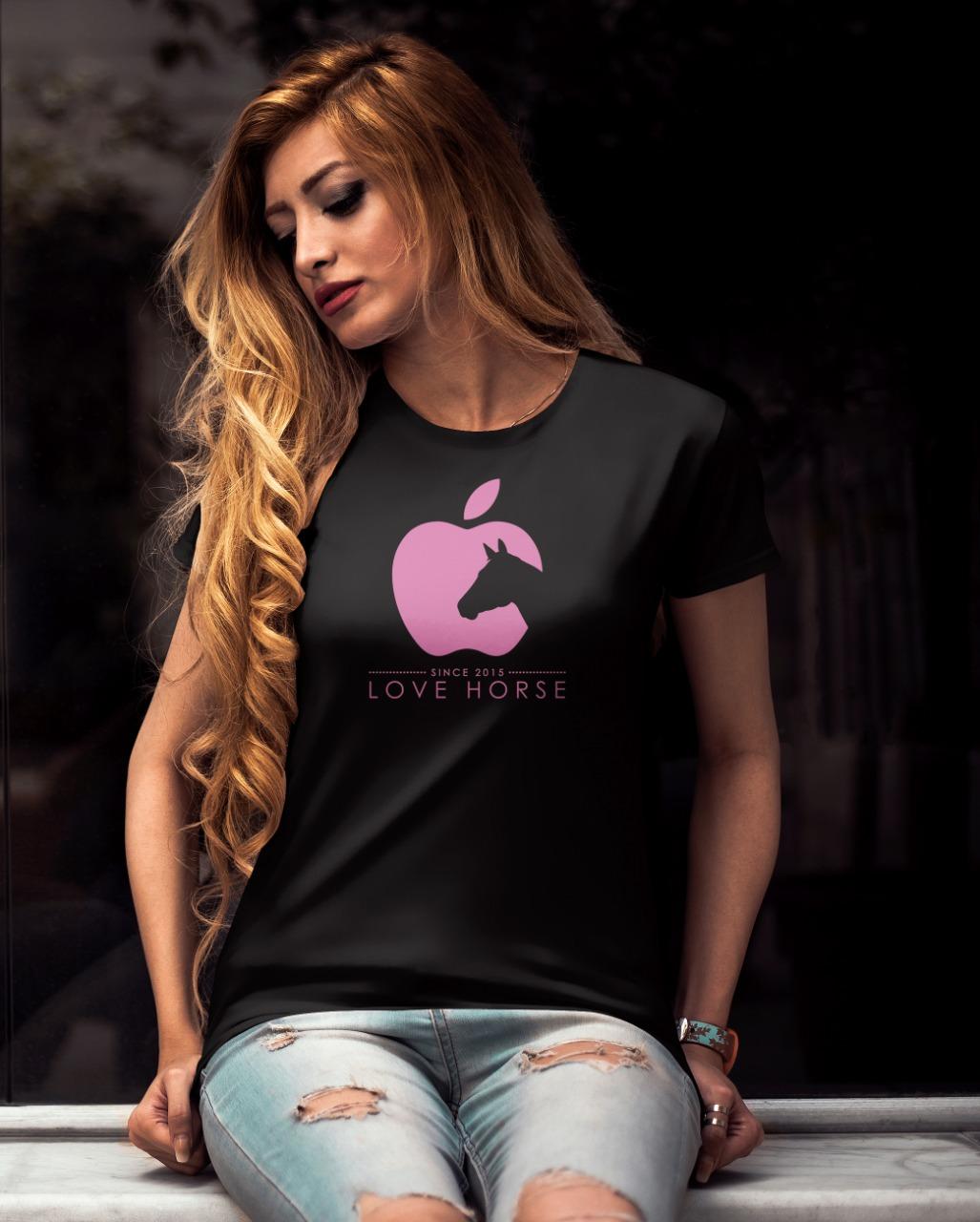 Camiseta Feminina Preta e Rosa Country Love Horse!