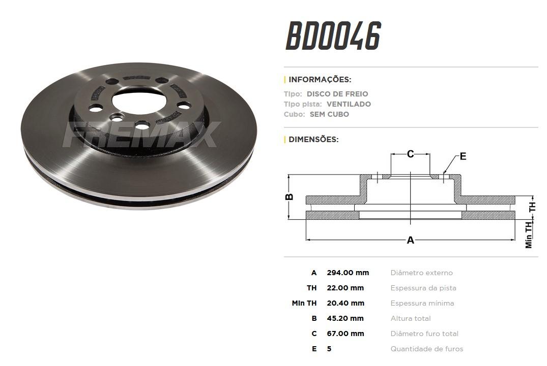 Disco de Freio Dianteiro MINI Cooper S 2.0 F55, F56 E F57 BD0046 (PAR)