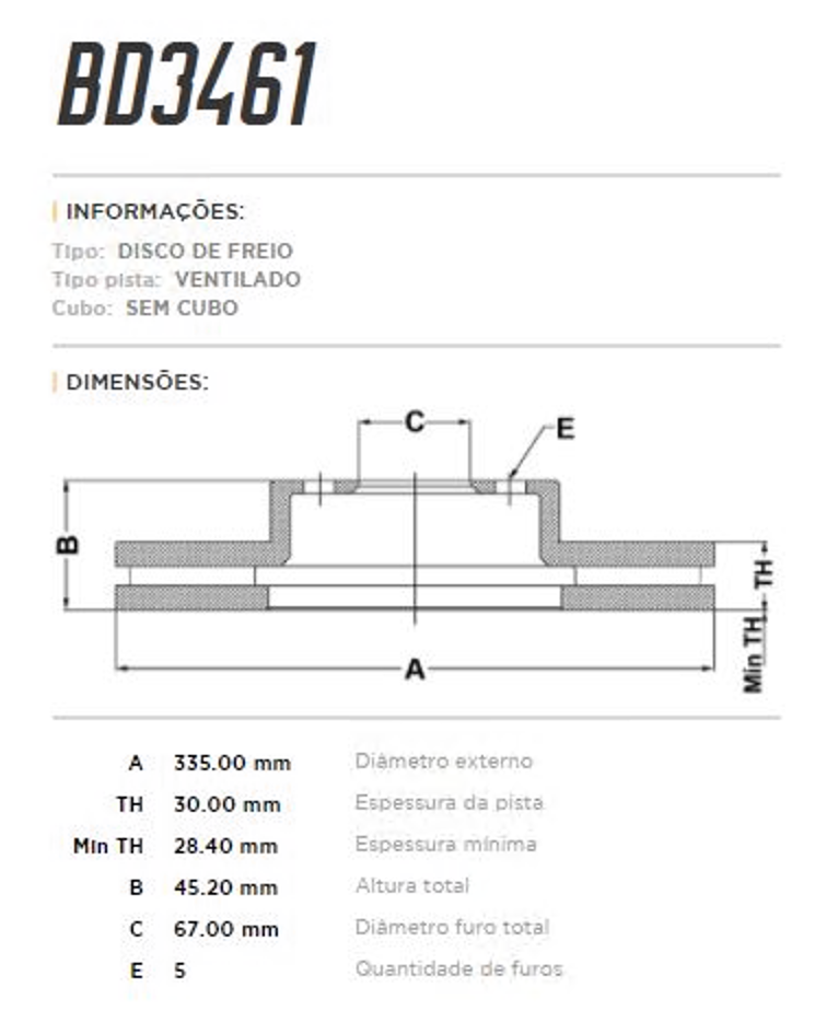 Disco de Freio Dianteiro MINI JCW 2.0 F56, F57 e F60 BD3461 (PAR)
