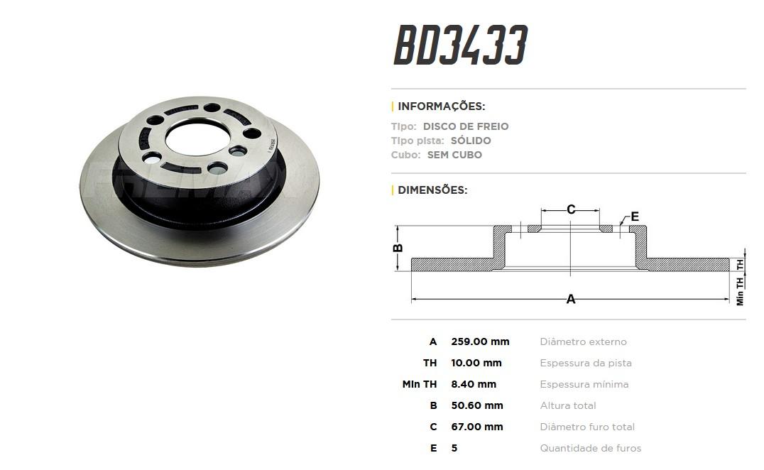 Disco de Freio Traseiro BD3433