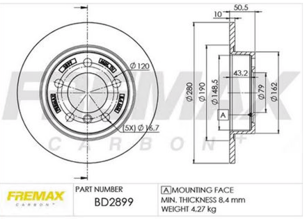Disco de Freio Traseiro MINI 1.6 R60 R61 BD2899 (PAR)