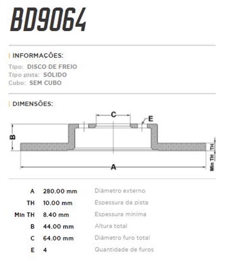 Disco de Freio Traseiro MINI JCW 1.6 R56 / R57 / R58 / R59 BD9064 (PAR)