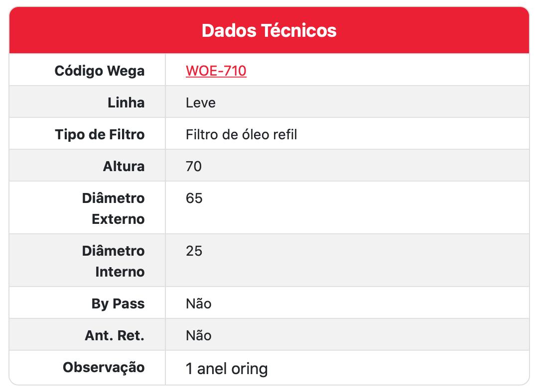 Filtro de Óleo WOE710