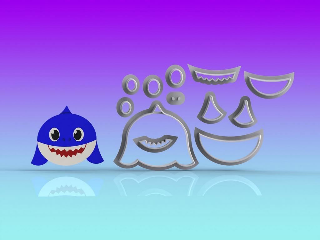 Cortador Baby Shark Rosto - Papai Modular