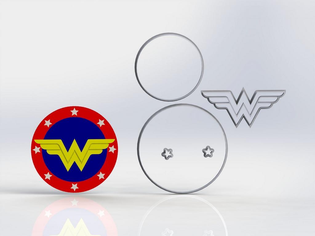Cortador Combo Kit Mulher Maravilha 5 cm + logo 12 cm Bolo
