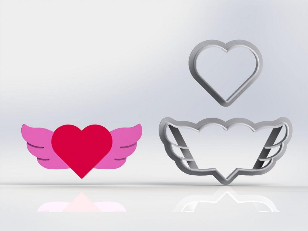 Cortador Dia dos Namorados - Coração com asas