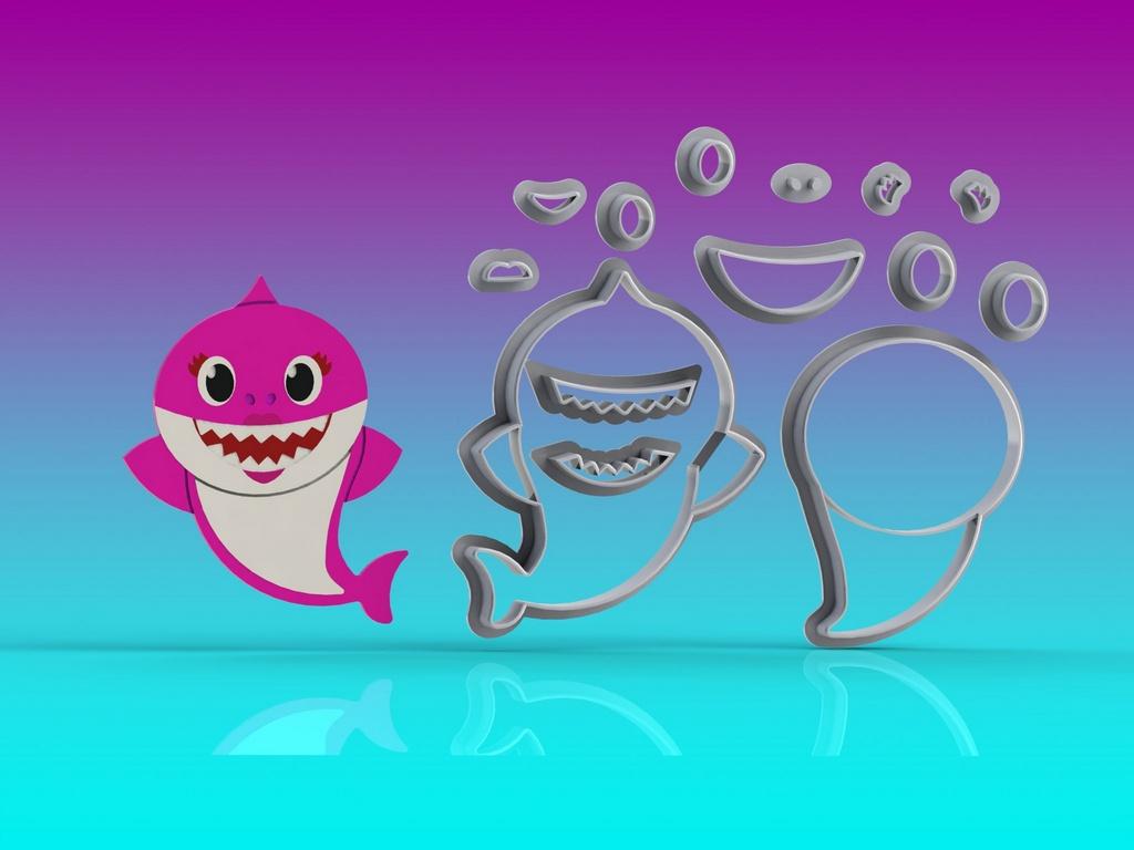 Cortador Kit Baby Shark Corpo 4 Personagens Modulares