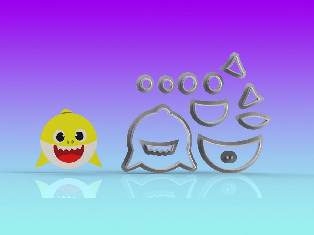 Cortador Kit Baby Shark Rostos 4 Personagens Modulares
