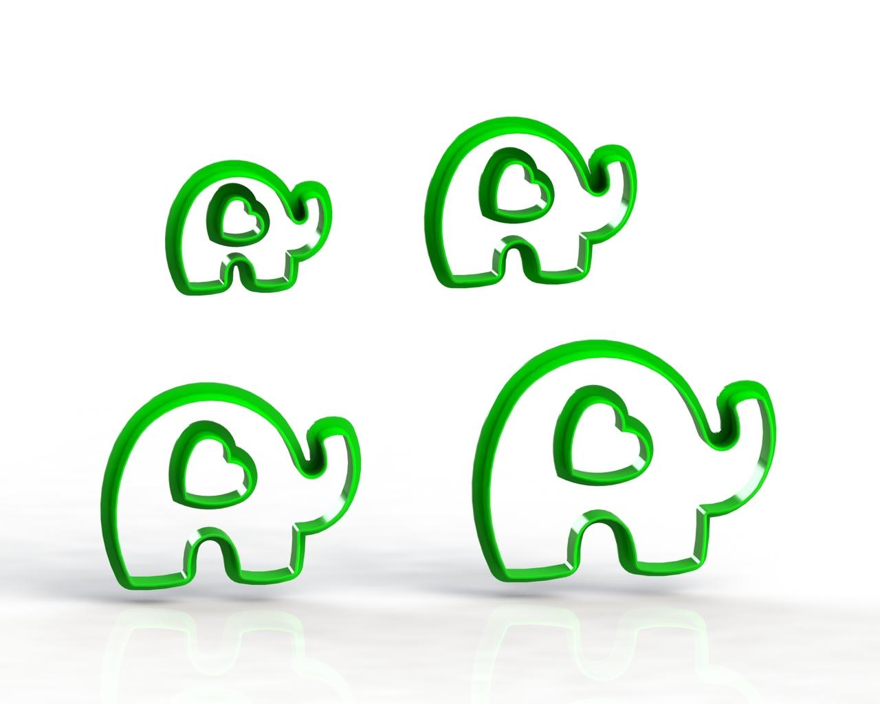 Cortador Kit Elefantes - 3 a 6 cm