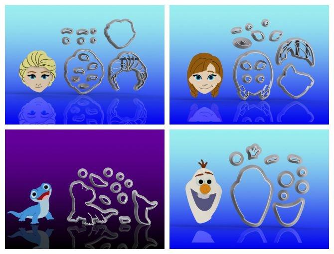 Cortador Kit Frozen - Ana Elsa Olaf  e Bruni Modulares