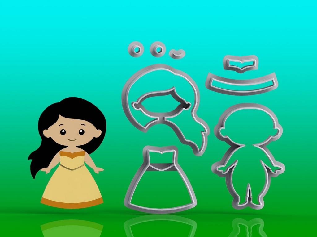 Cortador Kit Princesa Pocahontas Modular (3 modelos)
