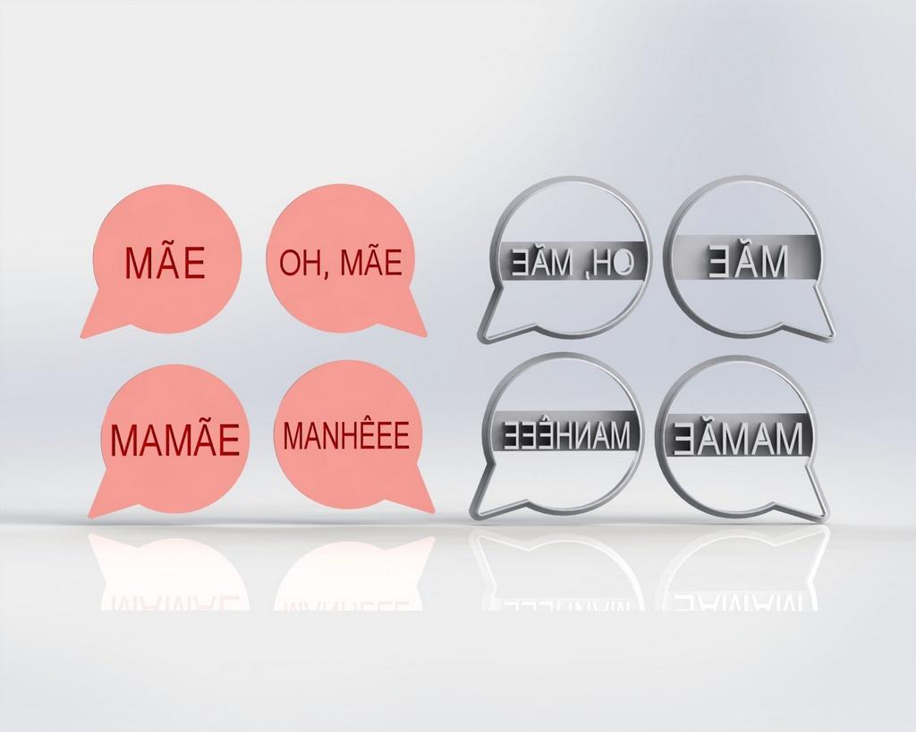 Cortador Placas Dia das Mães - Manheee Mamãe Oh Mãe ( corta e marca)