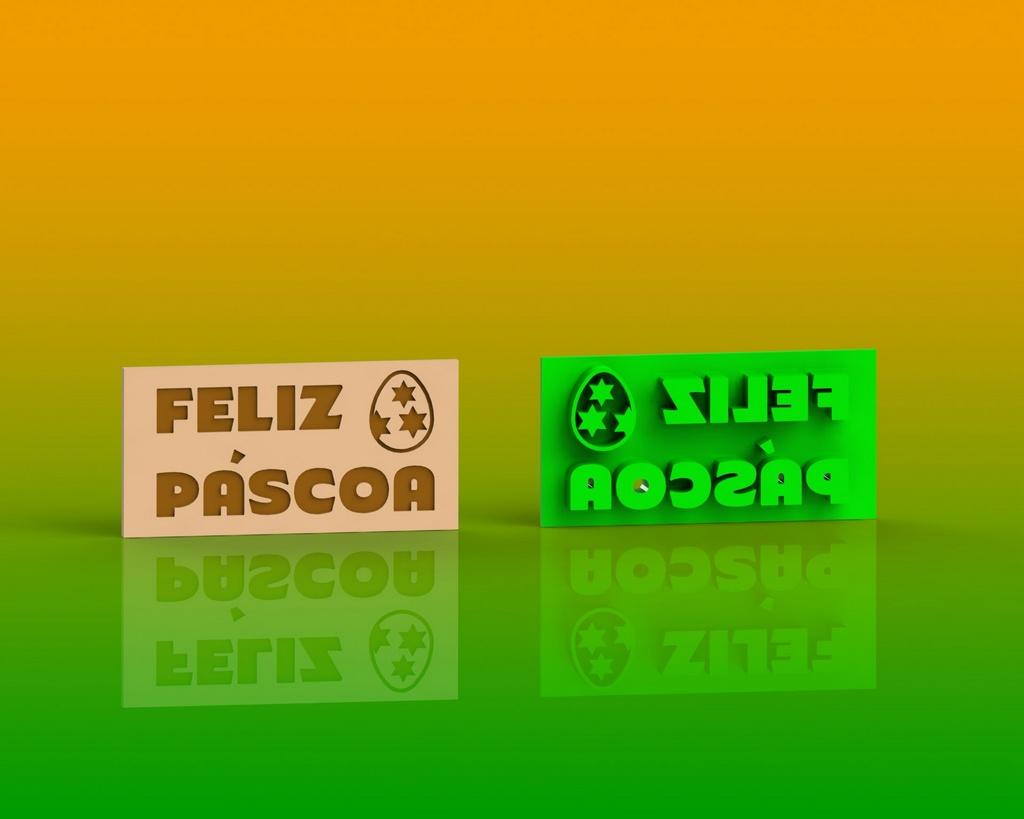 Marcador Páscoa - Placa Feliz Páscoa Mod 1