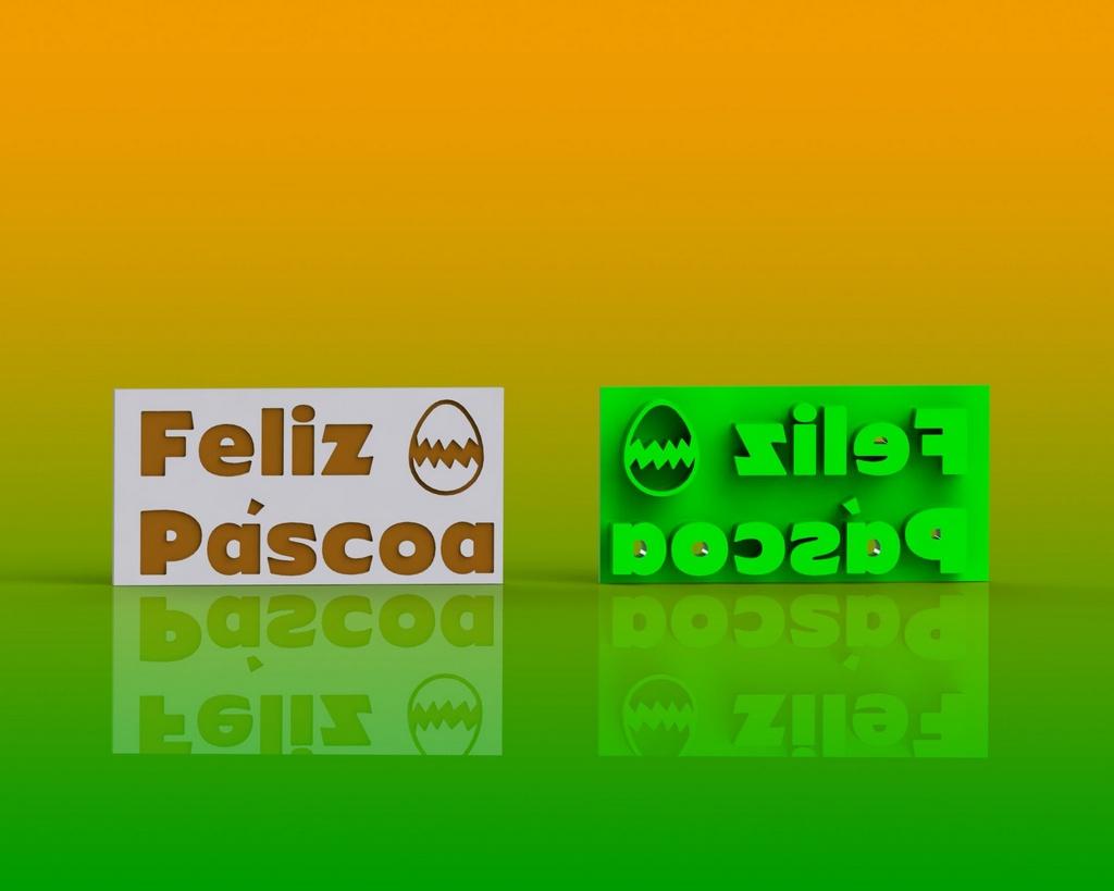 Marcador Páscoa - Placa Feliz Páscoa Mod 2