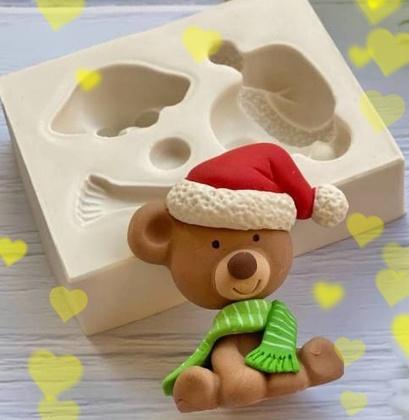 Molde de Silicone Urso Ursinho 3D com Gorro de Natal