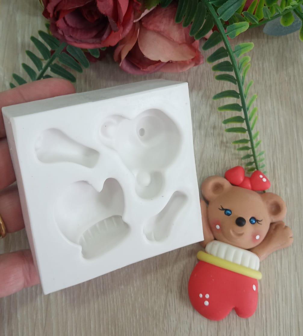 Molde de Silicone Urso Ursinho e Luva 3d Natal