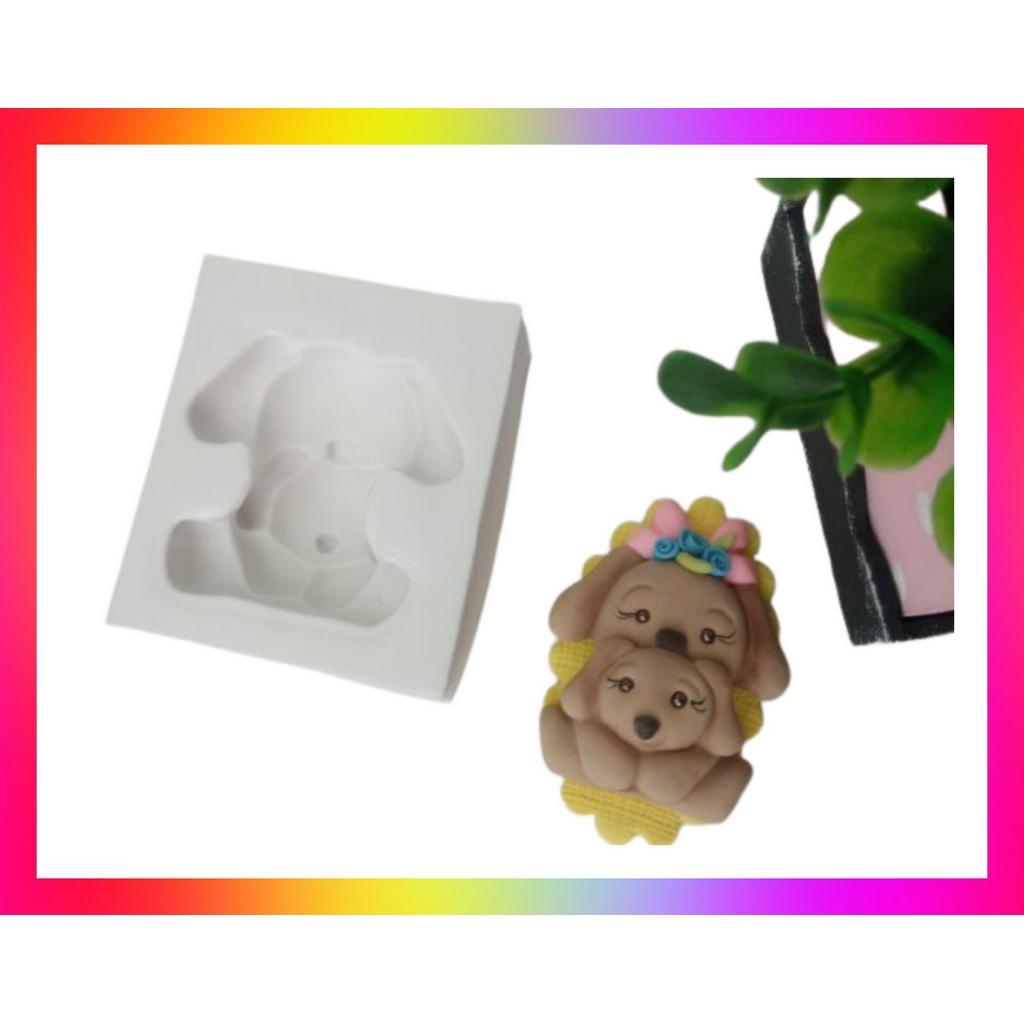 Molde silicone Cachorrinha Pet Mãe e Filho (cachorro) dog Filhote