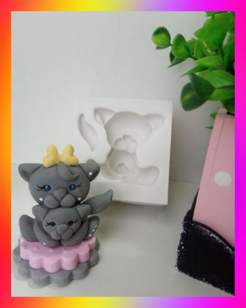 Molde silicone Gatinha Pet Mãe e Filho (cachorro) Cat Filhote Gato