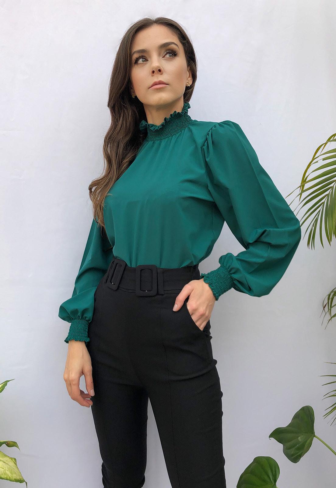 Blusa Bufante Gola Alta Verde Esmeralda