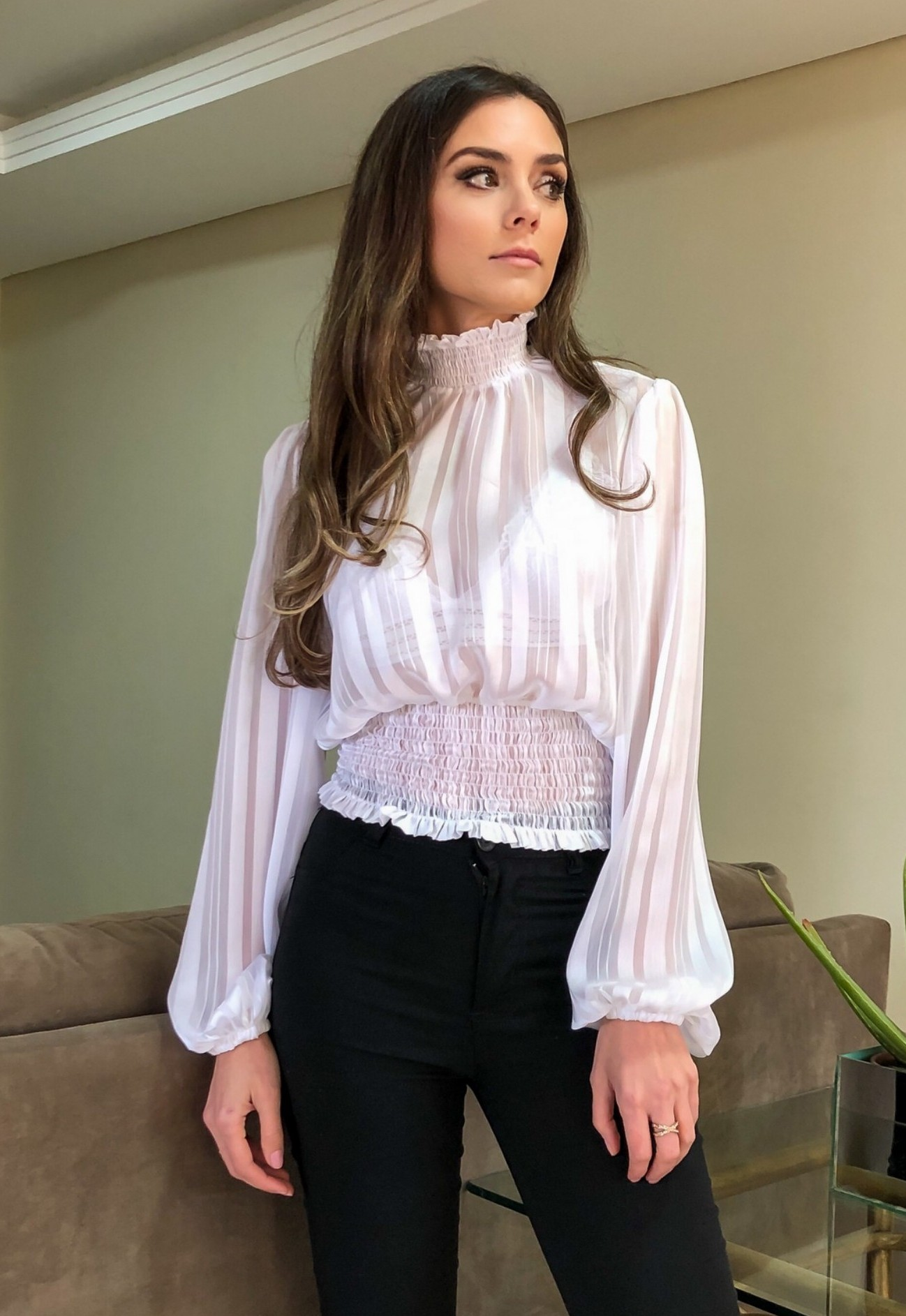 Blusa Elisa Bufante Transparência Branca