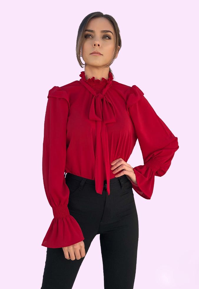 Blusa Gola Alta Laço Bufante Vermelha