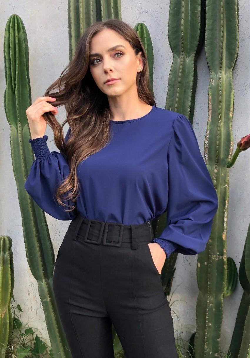 Blusa Serena Mangas Longas Bufante Azul Marinho
