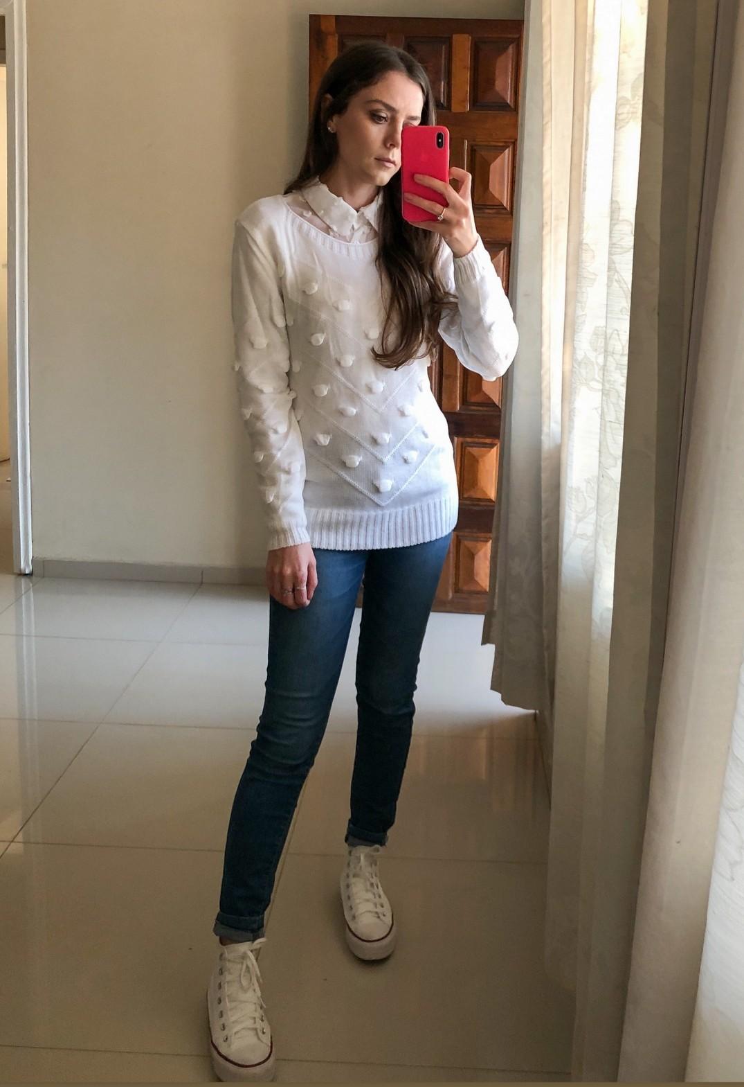 Blusa Tricot Pipoca Branco