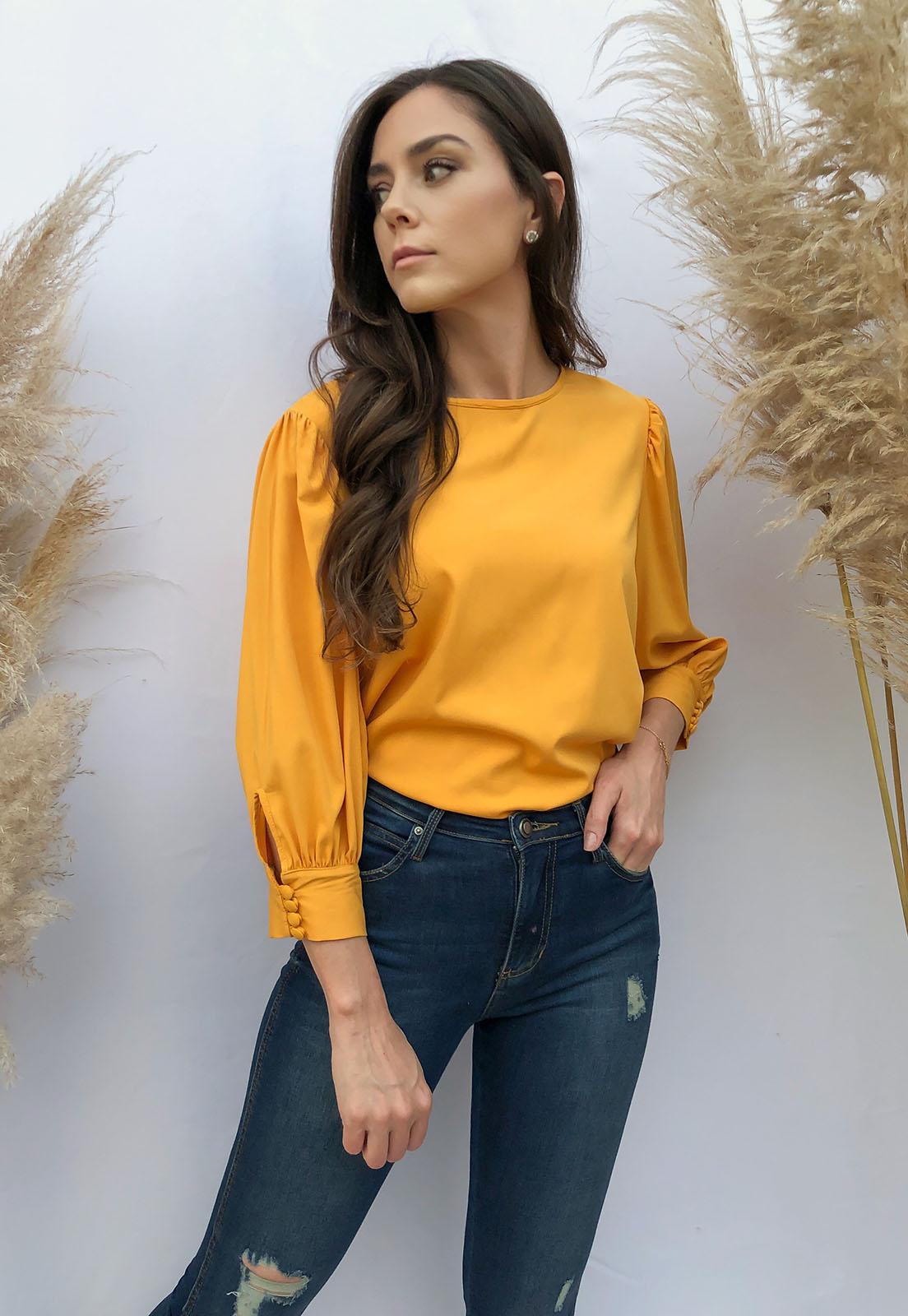 Blusa Viscose Mangas Fofas 3/4 Amarelo Mostarda