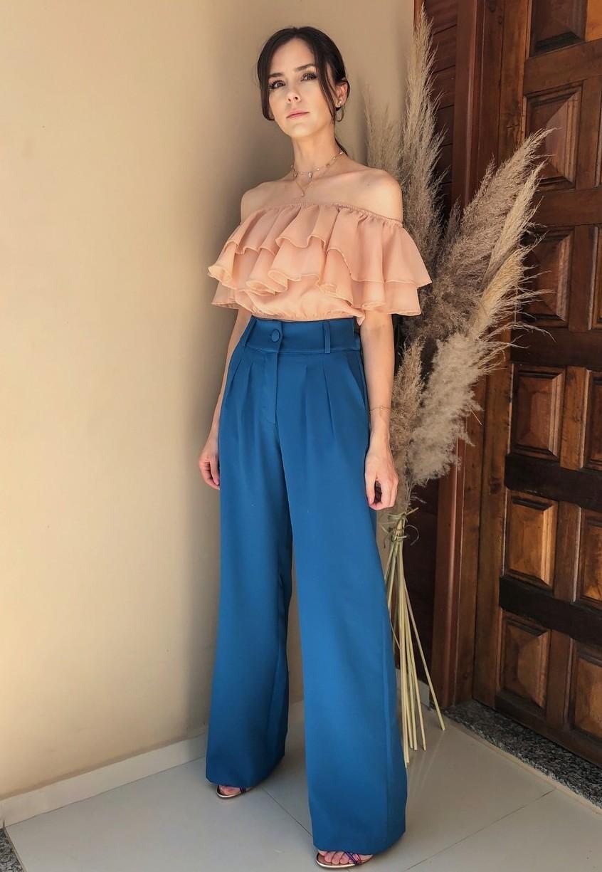 Calça Alfaiataria Pantalona Azul Médio