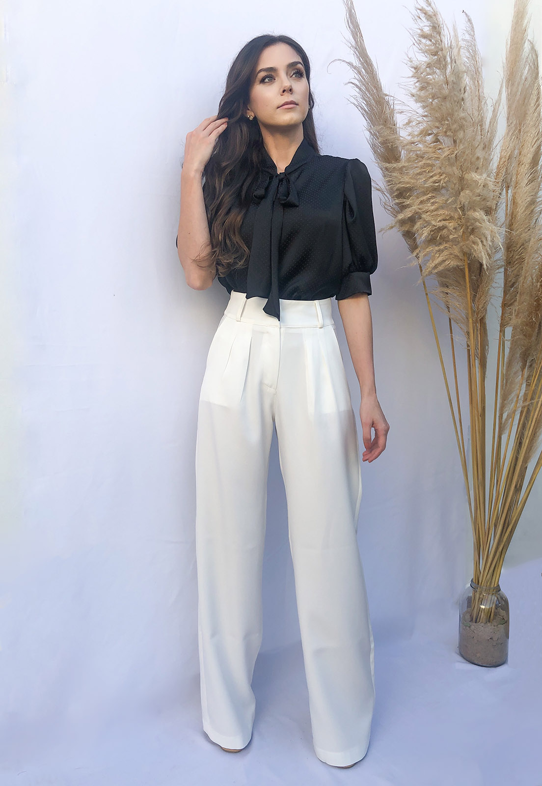 Calça Alfaiataria Pantalona Wide Branca/off