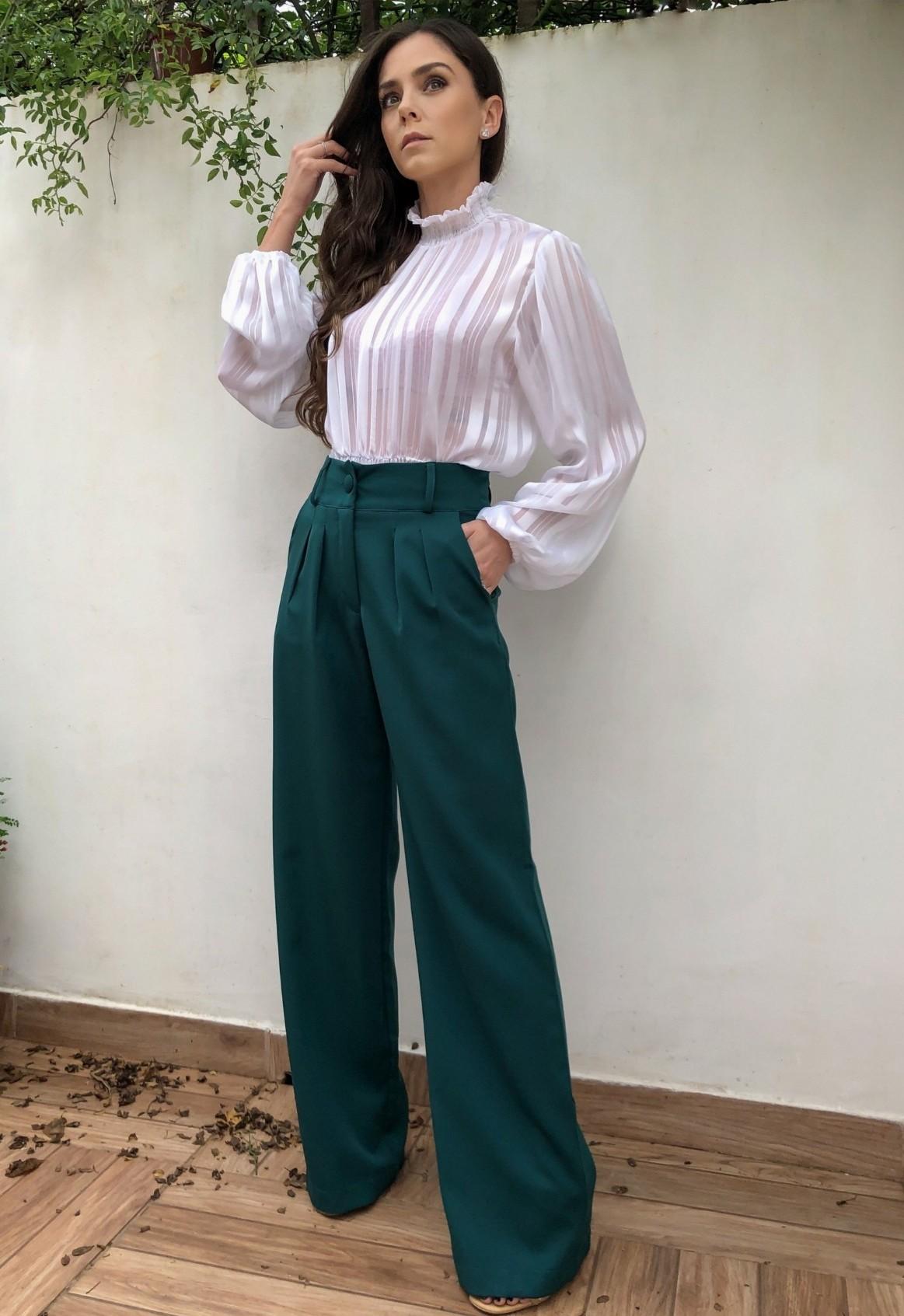 Calça Alfaiataria Pantalona Wide Verde Escuro