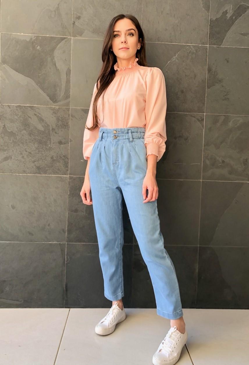 Calça Jeans Mom Cós Elástico Azul Claro