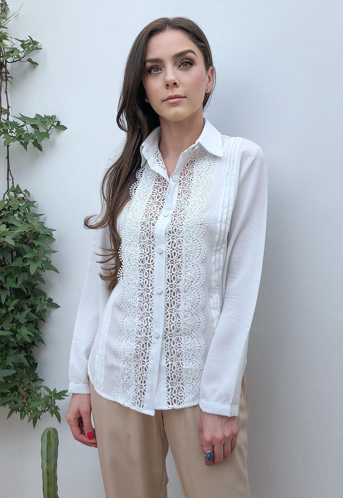 Camisa Crepe Guipir Off White